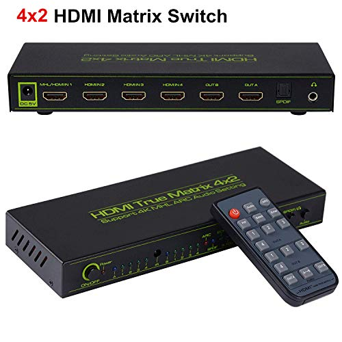 avedio links 4x2 HDMI Matrix Switch V1.4,HDMI Switcher/Splitter 4 in 2 Out with Optical & L/R Audio Output- Support 4K,3D 1080p,ARC,PIP - Includes 17keys IR Remote Control & Power Adapter