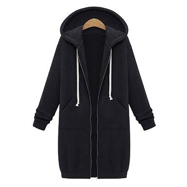 Highdas Women Long Sleeve Hooded Coat -Ladies Zip Up Sweatshirt Long Warm  Cardigan Longline Hoody d54c497eb532