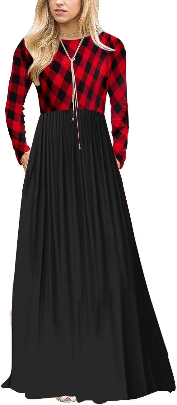 MEROKEETY Women's Plaid Long Sleeve Empire Waist Full Length Maxi Dress with Pockets