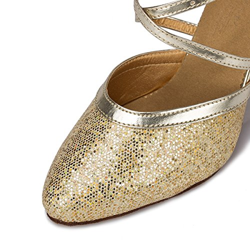 Miyoopark Womens Ankle Strap Glitter Buckle Synthetic Ballroom Salsa Latin Dance Shoes Gold Od5th58Z31