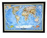 THE HOTTEST SELLING push pin map of the World Nat Geo's Classic World FRAMED 47 X 34'' Pin board MAP with Black Satin Finish Frame is the best push pin travel map for home office or class room
