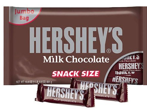 2 JUMBO BAGS - Hershey's Snack Size 90 Chocolate Candy Bars (2 JUMBO BAGS IN EACH ORDER) - EACH Bag = 19.8 Oz