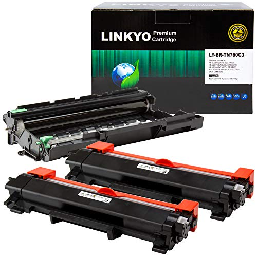 (LINKYO Compatible Toner Cartridge and Drum Unit Replacement for Brother TN760 TN-760 DR730 (2 Black Toner, 1 Drum)