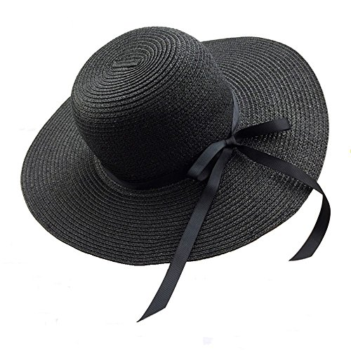 Chapter Seven Women's Sun Hat Floppy Foldable Bowknot Large Wide Brim Straw Hat Summer Beach Cap UV Protection UPF50 ()