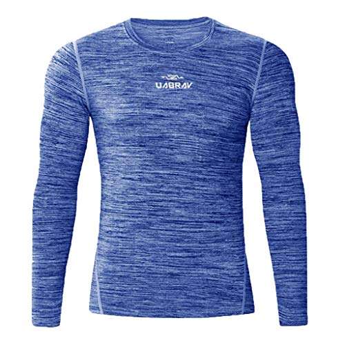UONQD 2019d Men's New Fitness Training Clothes Long Sleeve Blouse Outdoor Sports Blouse Top(XX-Large,Blue)