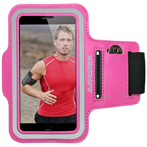Aaratek AARATEK-RA02-i5-Pink Pro Sport Armband for iPhone 5, 5S, 5C, 4, 4S, iPods - Best for Running, Workouts, Cycling, Fitness, or Any Activity Outside or in the Gym – Pink