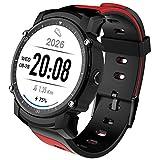 PINCHU Reloj Inteligente FS08 con frecuencia Cardíaca GPS multideportivo, Reloj de Pulsera con Control Remoto IP68 Resistente al Agua, Reloj Inteligente para Android iOS, Rojo