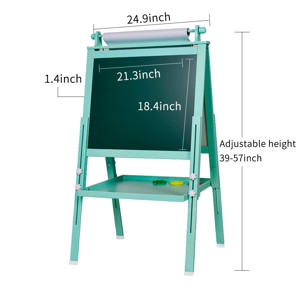 3 in 1 Wooden Kids Easel Double-Sided Drawing Board Whiteboard & Chalkboard Dry Easel with Drawing axis & Paper Roll, Numbers, Paint Cups for Writing Kids Boys Girls (Turkis) by Beebeerun