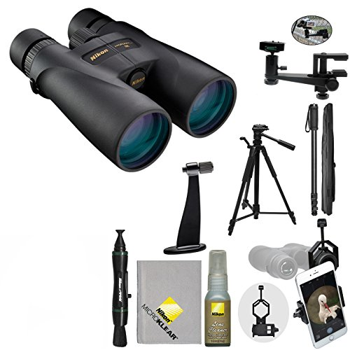Nikon Monarch 5 20x56 ED Waterproof / Fogproof Binoculars with Case + Tripod + Smartphone Adapter + Mounts + Monopod + Cleaning Kit