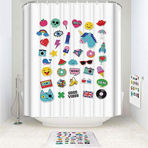 Clev Slip Hook - iPrint Polyester Fabric Bathroom Shower Curtain Set with Hooks,Vibes Ice Cream Rocket Donut Star Cartoon Style,3pcs Set with Shower Curtain Bath Towel Non-Slip mat for Home Decor Bathroom