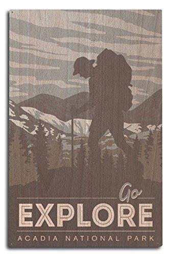 Acadia National Park - Go Explore - Backpacker (10x15 Wood Wall Sign, Wall Decor Ready to Hang)
