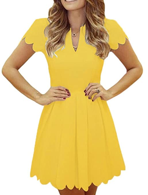 Sidefeel Women Sweet Scallop Pleated A-line Dress Small Yellow