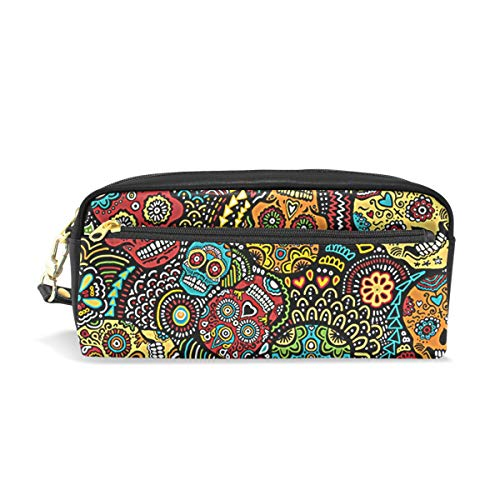 Mexican Sugar Skulls Halloween PU Leather Cosmetic Bag Makeup Pouch Pen Pencil Case Coin Purse Travel