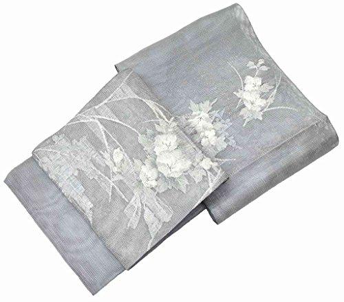 登る施設測定可能夏帯 袋帯 リサイクル 中古 正絹 絽 特選 からみ織 草花文様 グレー系 jj1071a80