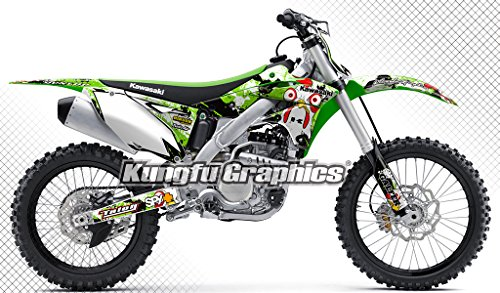 (Kungfu Graphics Chick Custom Decal Kit for Kawasaki KX250F KXF250 2013 2014 2015 2016, White Green)