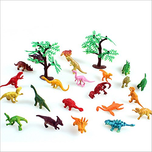 ZevenMart 24pcs/lot Static Simulation Dinosaur Mini Action Figure Toys Baby Room Decoration Kids Birthday Gifts (Green Giant And Sprout Costumes)