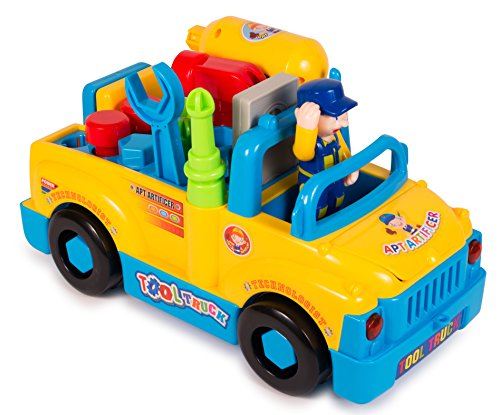 ToyThrill Take Apart Tool Truck: Educational Construction Preschool Toy Automatically Rides with Sounds & Lights - Includes Electric Power Drill & Building Tools for Assembling- For Age 3+ Yrs Kids (Preschool Riding Toys)