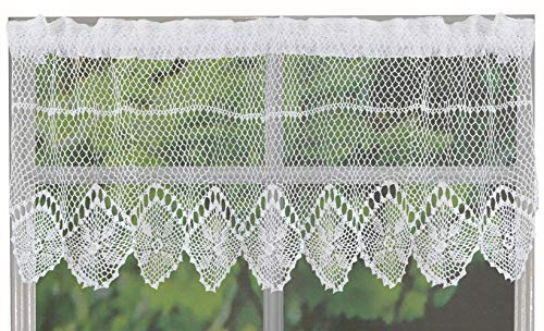Creative Linens Cotton Crochet Lace Kitchen Curtain Valance White Handmade