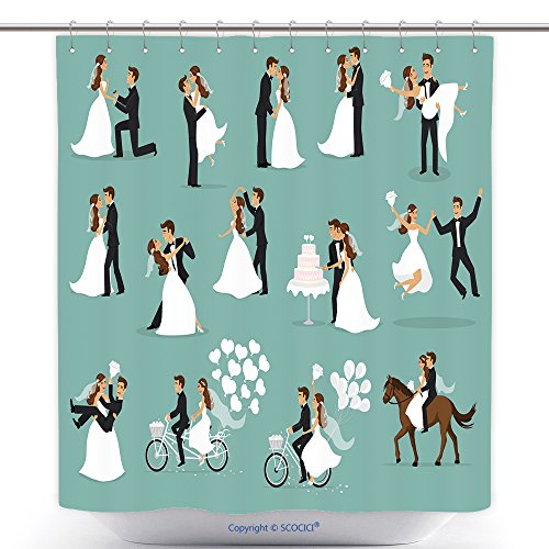Funky Shower Curtains Just Married Newlyweds Bride And Groom Set Happy Couple Celebrating Marriage Dancing Kissing 583566973 Polyester Bathroom Shower Curtain Set With Hooks