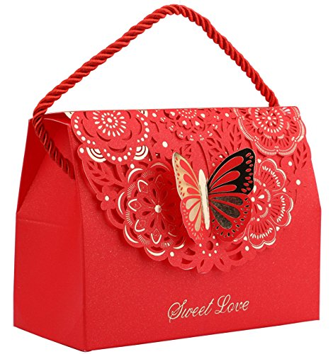 (DriewWedding 20pcs Butterfly Decorative Boxes Paper Tote Gift Bags with Handle, Wedding Flower Favor Boxes for Anniversary, Birthday Parties, Baby Shower, Bridal Showers - Red, 5.8