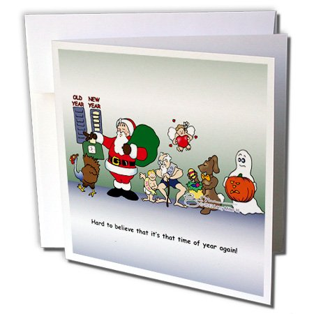 3dRose Larry Miller Santa Ushers in The New Year - Greeting Cards, 6 x 6