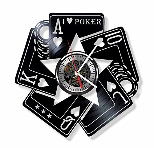 Gift.Time.UK2000 Poker vinyl wall clock – handmade Poker game cards ornament decoration and gift idea for any occasion For Sale