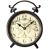 Adeco Old World-Inspired Brown Iron Alarm Clock Style Wall Hanging or Table Clock with World Map Design