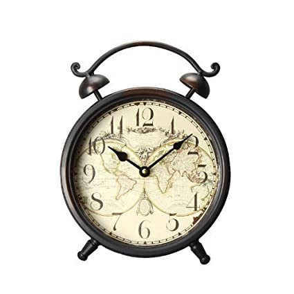 Amazon adeco old world inspired brown iron alarm clock style adeco old world inspired brown iron alarm clock style wall hanging or table clock with gumiabroncs Images