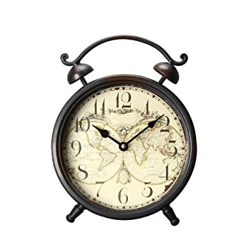 Amazon adeco old world inspired brown iron alarm clock style adeco old world inspired brown iron alarm clock style wall hanging or table clock with gumiabroncs Image collections