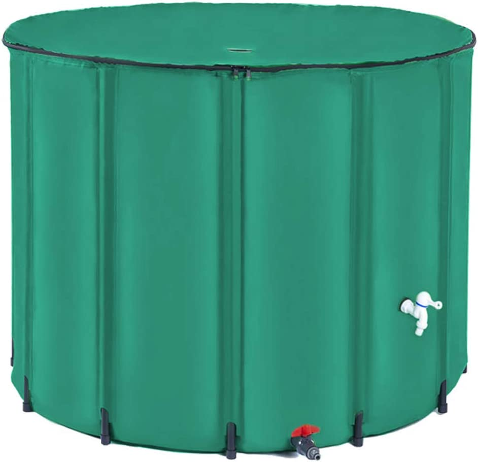 COMMYEE 264GL(1000L) Foldable Rain Barrel Collapsible Tank Water Storage Container Water Collector Super Heavy(264 Gallon,Dark Green)