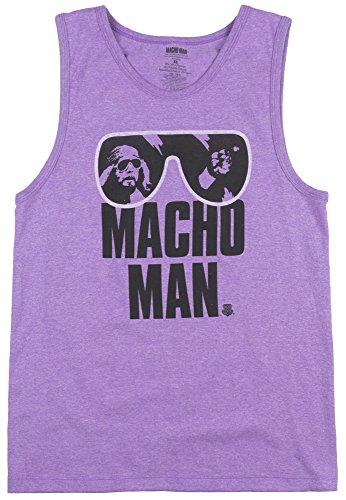 WWE Men's Legends Macho Man Authentic Tank Top, Neon Purple Heather, Small by WWE