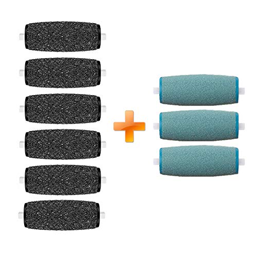 6Extra Coarse & 3Regular Coarse Replacement Roller Refill Heads Compatible with PediPefect Electronic Foot File ()