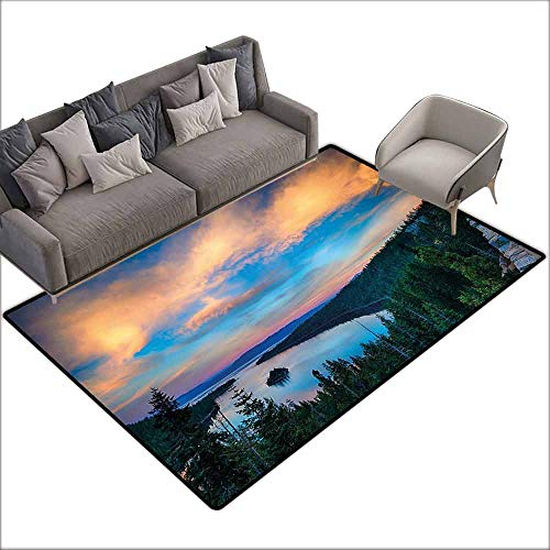 (Bedroom Living Room Area Rug Lake Tahoe,High Angle View of Californian Freshwater Lake Tranquil Scene Sundown,Forest Green Sky Blue 36