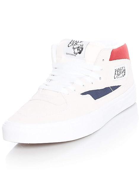 57d466fe7f6649 Image Unavailable. Vans Retro Block-White-Red-Dress Blues Half Cab Shoe