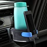 MANDCG® Smart Drink & Phone Clip-on Holder Air Conditioner Car Cup Holder Air Vent Mount Phone Holder Insert Soft Drink Beverage Water Coffee Cup Bottle with Adjust Size For Vehicle Automobile-Blue