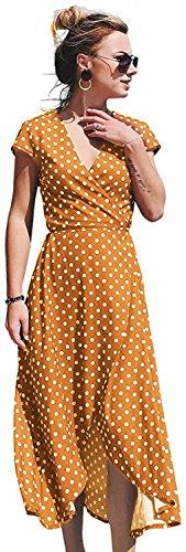 HIKA Women's Summer Chiffon V-Neck Wrap Irregular Hem Polka Dot Maxi Beach Dress (Small, Orange) for $<!--$20.88-->