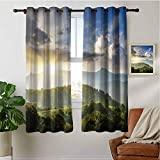 PRUNUSHOME Sunrise Woodland Curtains for Kitchen Window, Window Treatment Thermal Insulated Solid Grommet Blackout Drapery Panels(Set of 2 Panels,42 by 36 Inch)
