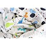 Premium-100-Organic-Cotton-Muslin-Swaddle-Baby-Blankets-4-Pack-Gift-Set-47-x-47-Large-Oversized-Animal-and-Star-Soft-Color-Theme-Multi-Purpose-Baby-Shower-Gift-Unisex