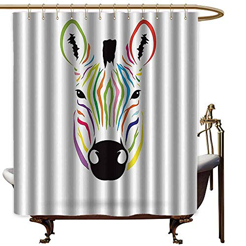 shower curtains for bathroom with purple Animal Decor,Colorful Exotic Zebra Abstract Artwork Print,Black and White Red Yellow Green Blue Pink Orange Magenta,W65