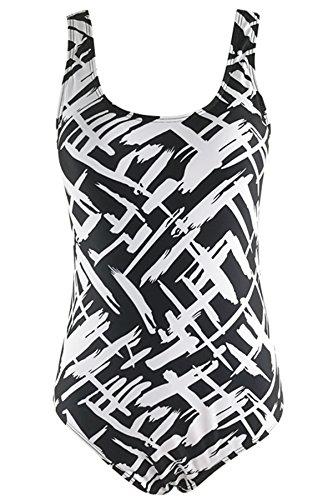 fbb05a45e4314 Women s Plus Size Pro Athletic One Piece Blouson Tankini Sporty Swimsuits  Backless Swimwear Slimming Bathing Suit Strip Black XL (US Size 12-14)