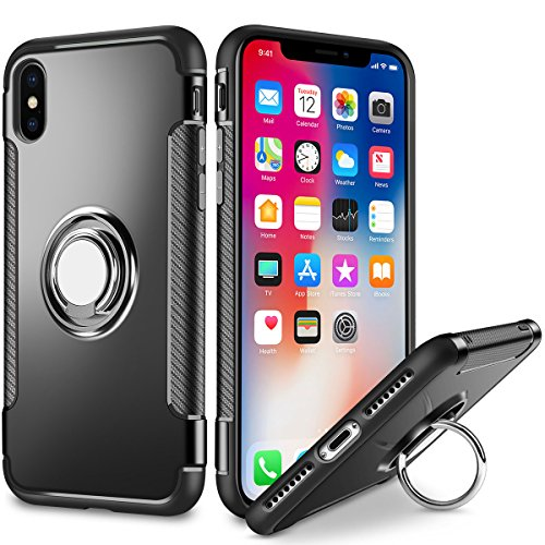 iPhone X Case, iPhone 10 Case, SAMONPOW Slim Fit Hybrid Dual Layer Armor iPhone X Case Cover Rugged Defender with Ring Holder Kickstand Drop Protection Soft Rubber Bumper Case for iPhone X - Black