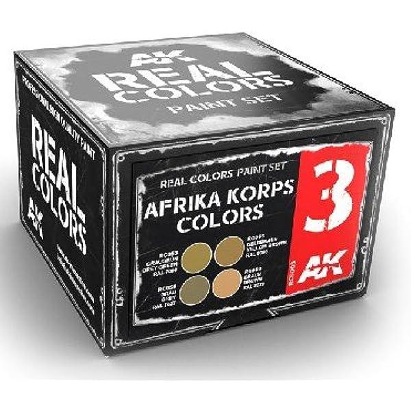 Amazon.com: Real Colors: Afrika Korps Acrylic Lacquer Paint Set (4) 10ml  Bottles: Home Improvement