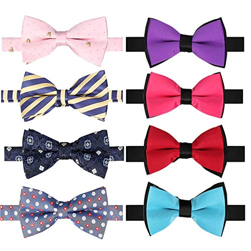 BASH 8 PACKS Elegant Adjustable Pre-tied bow ties for Men Boys in Different Colors ()