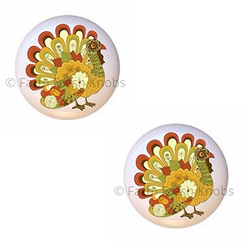 (SET OF 2 KNOBS - Beautiful Turkey Design #G1siH9 - Turkeys - DECORATIVE Glossy CERAMIC Cupboard Cabinet PULLS Dresser Drawer KNOBS)