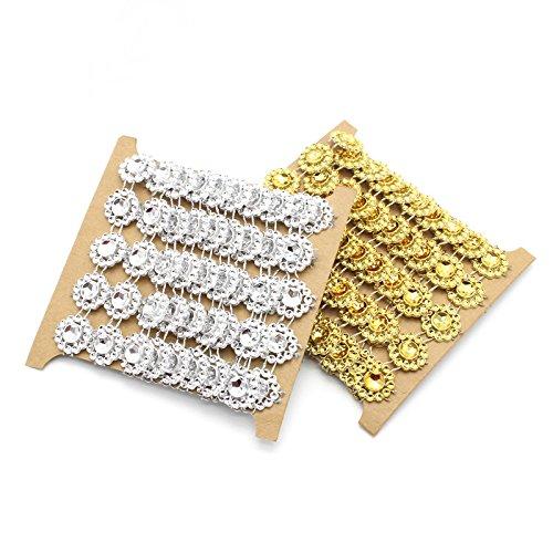 Yalulu 4 Yards 15mm Flower Rhinestone Diamond Bling Crystal Ribbon Mesh Wrap Trim Home Wedding Party Decorations (Gold) (Dress Wrap Sew)