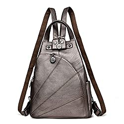 Women Vintage Leather Backpacks Female Travel Shoulder Bag Femme Anti Theft School Bagpack Ladies Back Gold 14 Inches