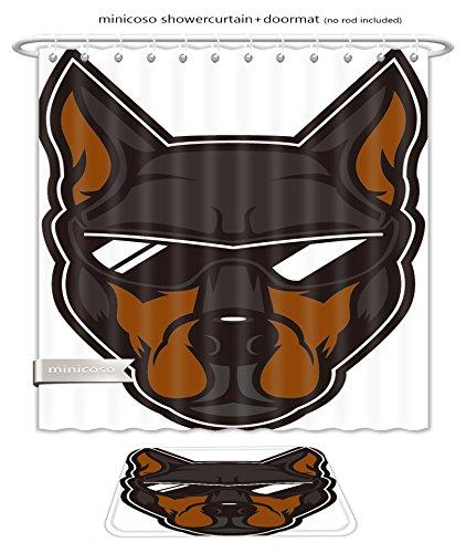 Minicoso Bath Two Piece Suit: Shower Curtains and Bath Rugs Elite Doberman Head Mascot A Doberman Dog Wearing Sunglasses Shower Curtain and Doormat - Versace Diamond Sunglasses