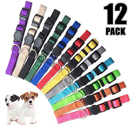 Pet ID Puppy Collar - Super Soft Nylon Whelping Puppy Collars - Adjustable Breakaway Litter Collars For Pups - Assorted Colors Reflective Plain & Camouflage Identification Collars - Set of 12 (S) (Collar Dog Nylon Puppy)