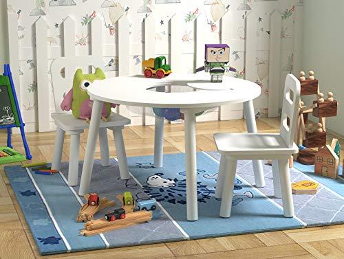 - Pidoko Kids Table and Chairs Set, Round with Storage (White)