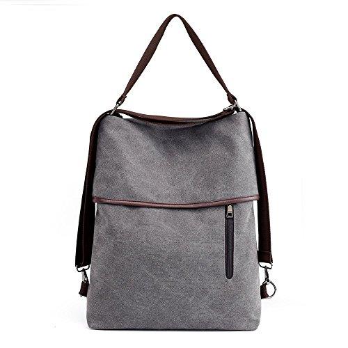 Vintage Grey Casual Women Backpack Multifunctional Tote Shoulder Bag Canvas rqrwxPR8g